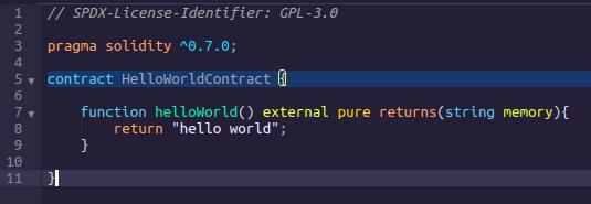 Hello world contract