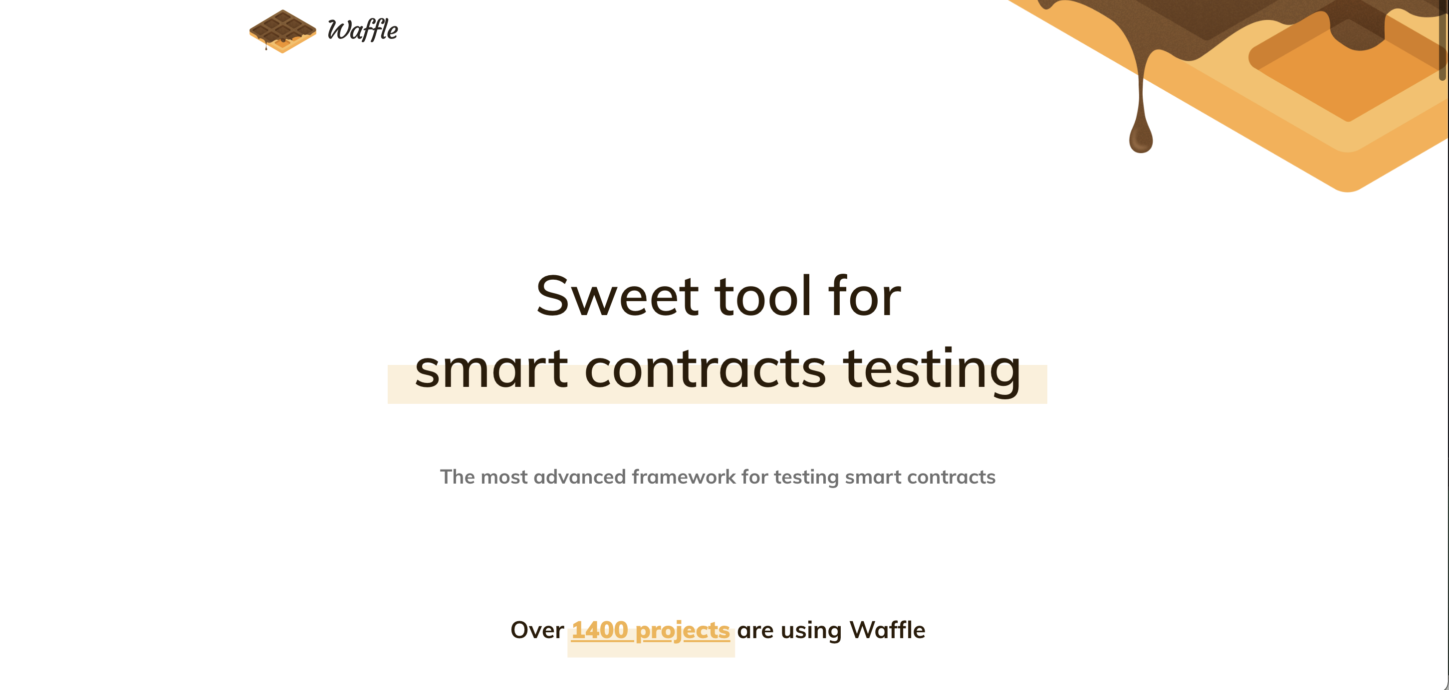 "screenshot from the Waffle website showing the words ""Sweet tools for smart contract testing"" and an image of a waffle"